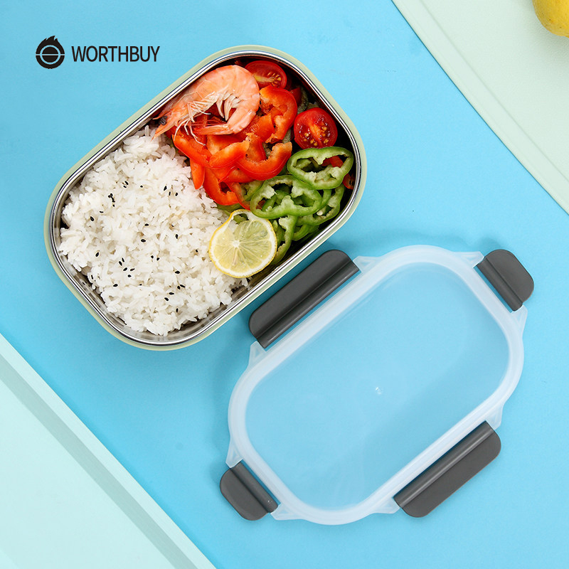 WORTHBUY Japanese 304 Stainless Steel Bento Box For Kids Picnic School Microwave Lunch Box Leak-Proof Fruits Food Container