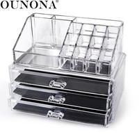 Acrylic 3 Drawer Makeup Organizer Cosmetic Organizer drawer Makeup Case Storage Box Rangement Maquillage