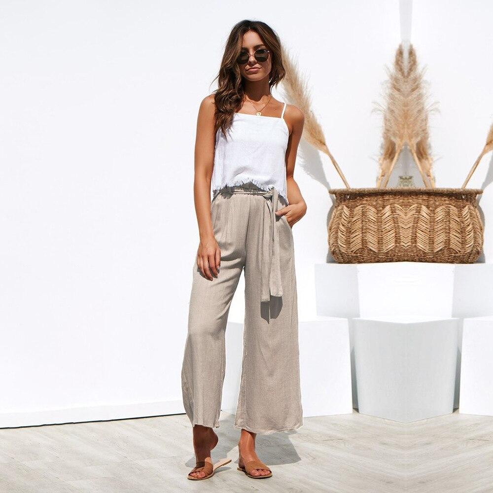 Casual Cotton Linen High Waist Wide Leg Pants 46