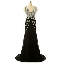 Baijinbai Floor-Length Long Black Sleeveless Formal Evening Dresses Women  Long Robe De Soiree Heavy White Beading S120401 aa2ca82fa2ff