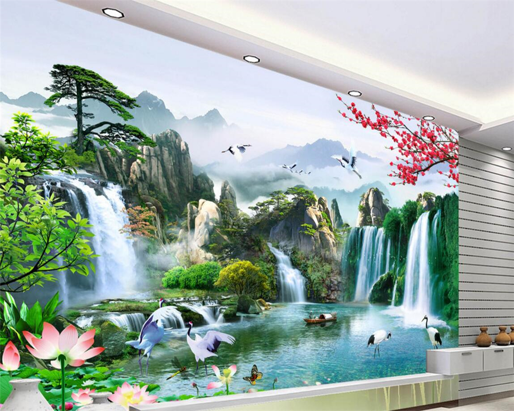 Beibehang Definition Of High Natural Scenery Chinese Fresco Wallpaper Living Room TV Mural Home Decoration In Wallpapers From