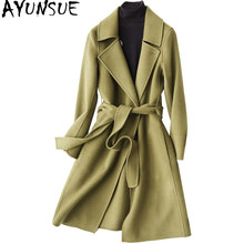 AYUNSUE Double Side Wool Coat Female Autumn Winter 2019 Fashion 80% Wool Coat Women Long Slim Jacket Overcoat casacos KQN37100(China)