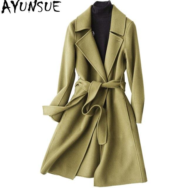 Ayunsue Двусторонняя Шерстяное пальто женские осень-зима 2018 Мода 100% Шерстяное пальто Для женщин длинный тонкий куртка пальто casacos wyq1134