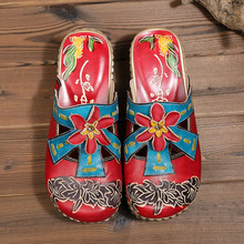 2019 summer new thick-bottomed leather sandals flowers handmade ladies home slippers