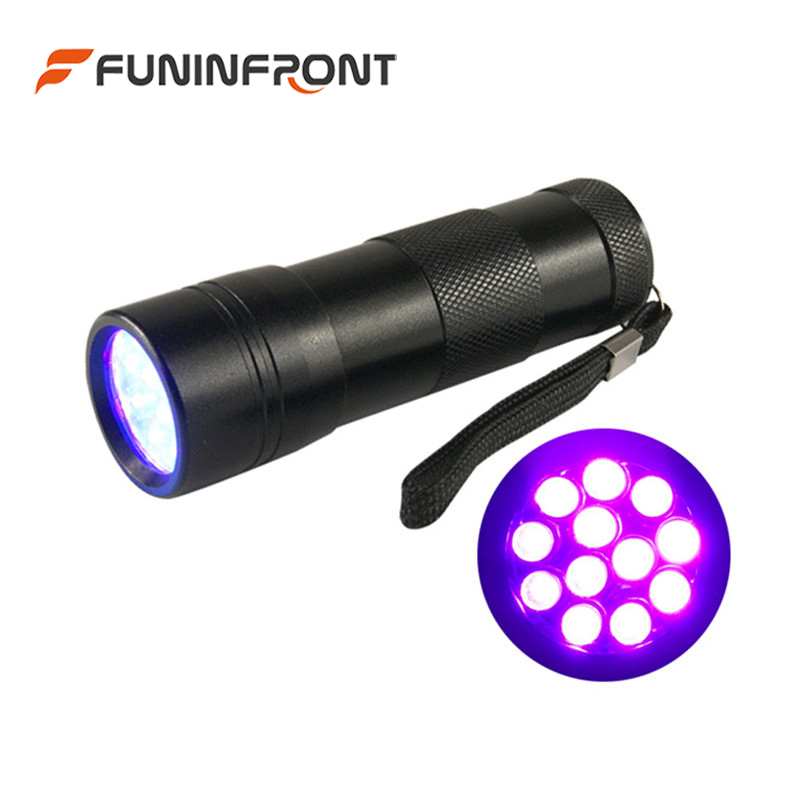 12 LEDs Purple Light LED Torch, 395NM UV Black Light MINI LED Flashlight for Dog Urine Stains, Jade, Amber, Currency Detector