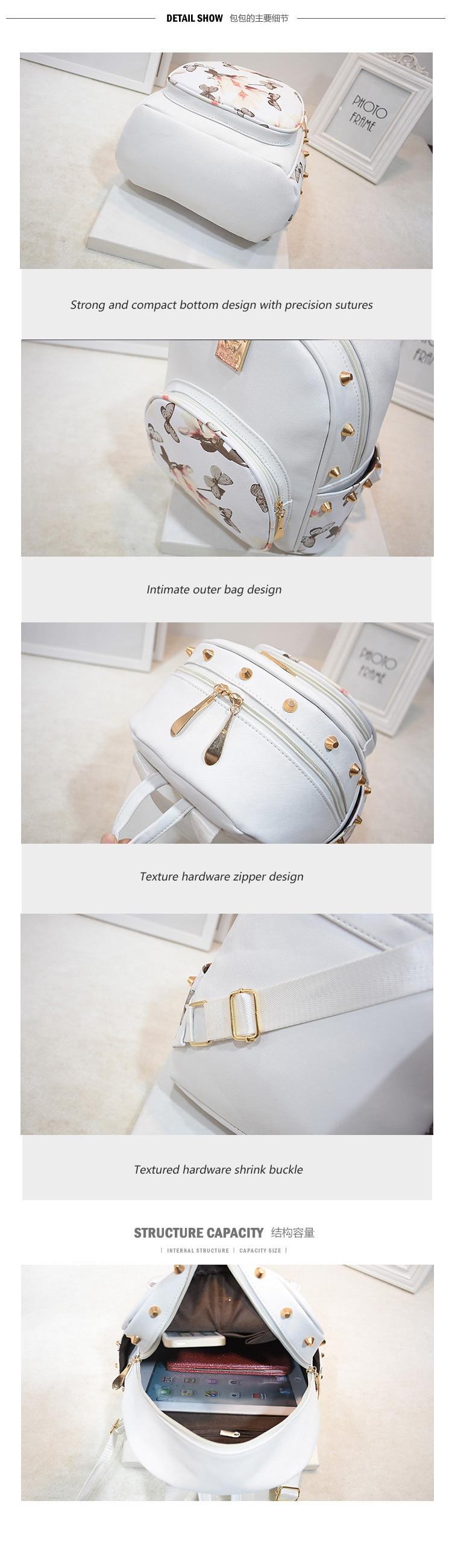 19829552dc25 SWDF Fresh Style Women Backpacks Floral Print Bookbags PU Rivet ...
