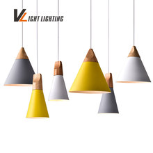 Modern Pendant Lights Real Wooden+Aluminum Colorful Pendant Lamps For Restaurant coffee Bar Home Decoration luminaire lamparas(China)