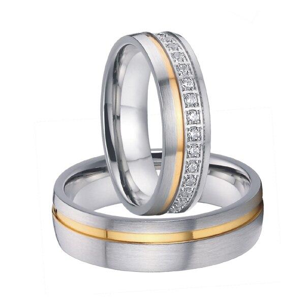 все цены на 2015 alliances anel luxury cz stone gold color titanium steel wedding bands couples rings sets for men and women