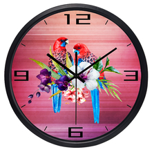 European Parrot Flower Wall Clock for Lady Women Room, Living Room Best Decorative Clock