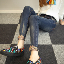 2016 Корейских женщин брюки носить джинсы тонкий тонкие дамы джинсы отбортовки карандаш брюки фабрики сразу