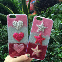For Iphone 6 6s Plus 7 7Plus Newest Bling Glitter Shinning Gradient Color Love Heart Star