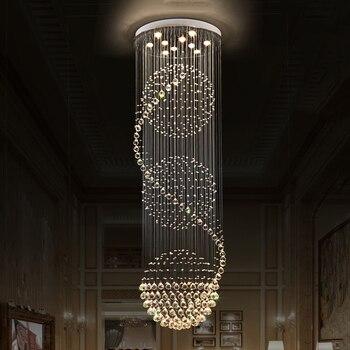 VALLKIN LED Хрустальные Люстры Светильники Подвесные Свет Лампы Крытый Деко Освещения с D70CM H250CM для Столовой Отеля лестнице
