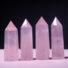 Natural powder crystal six prisms powder crystal single tip column 7cm 8cm 9cm 10cm 11cm цена