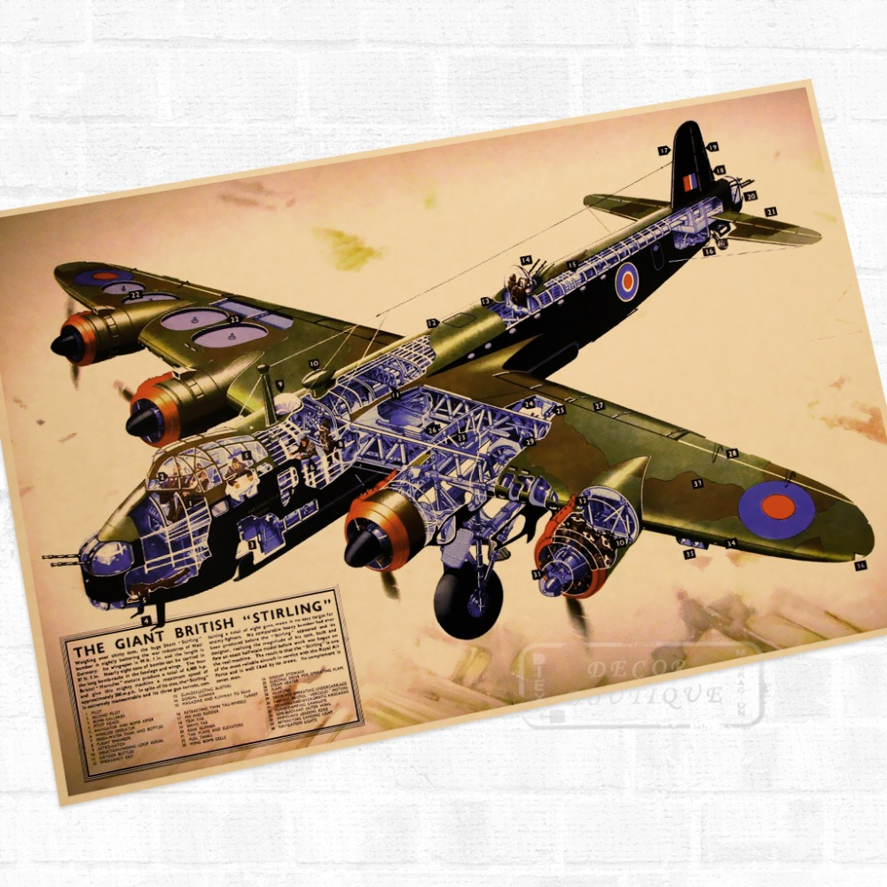 Giant British \'Stirling\' War WWII WW2 Propaganda Poster Vintage ...