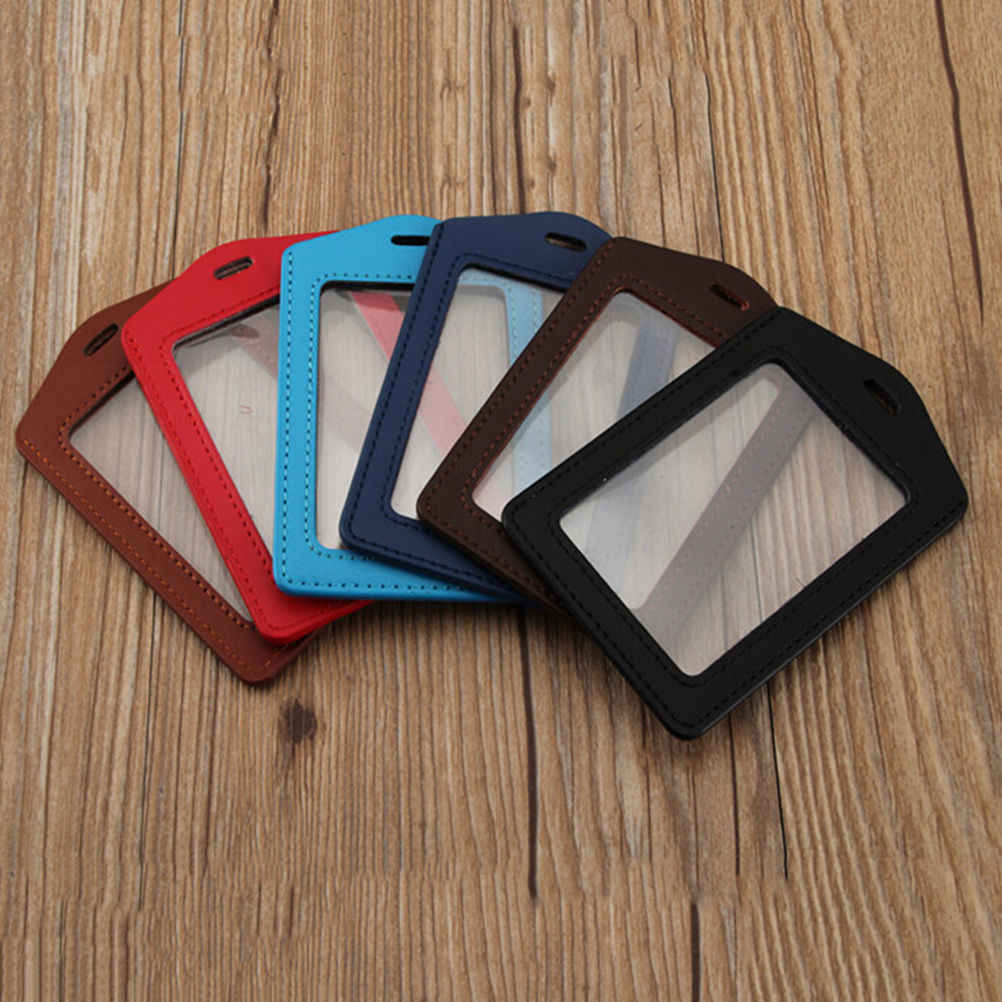 PU Leather ID Badge Case Clear and Color Border Lanyard Holes Bank Credit Card Holders ID Badge Holders Accessories FreeShipping