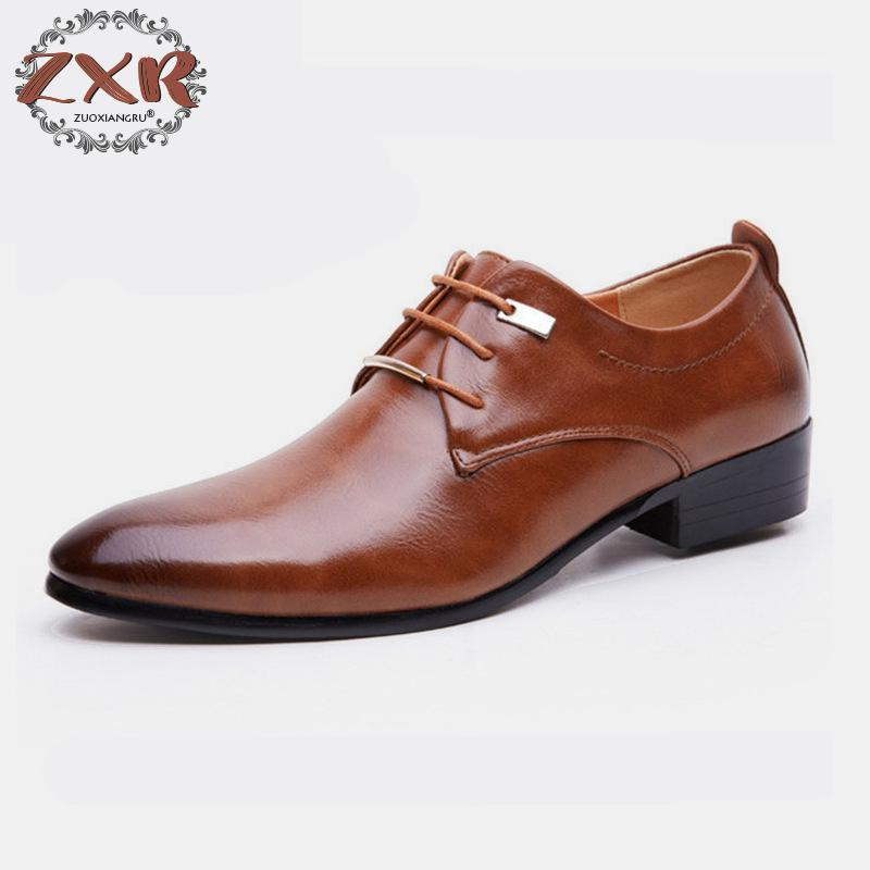 British Business Dress Men's Shoes Big Size Pointed Lace Up Oxford Shoes Men Flats Fashion Men Office Leather Shoes Black Brown new 2017 men business formal dress shoes oxford men leather shoes lace up pointed toe british style men shoes brown black