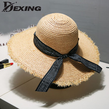 95bab83f09a 2019 stylish wide brim ribbons ladies straw hat beach sun hat for women  visor black korean