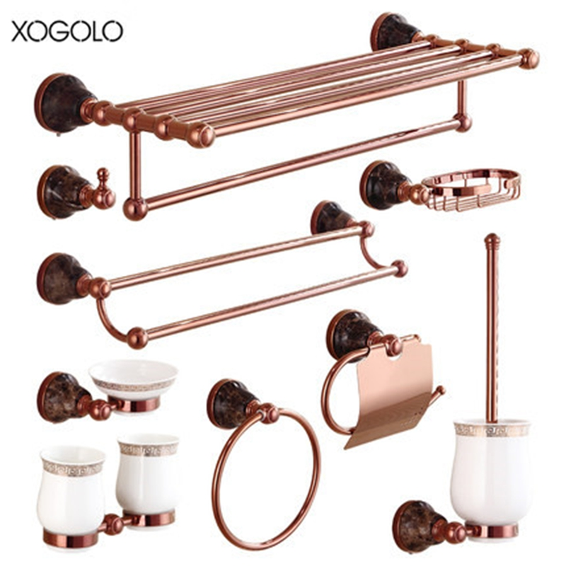 Xogolo Modern Style Luxury Rose Gold Solid Brass Brushed Marble Mosaic Paper Towel Holder Rack Accessories Bath Hardware Sets