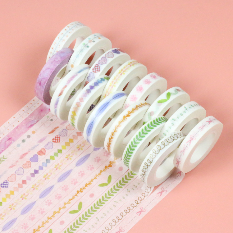 20pcs/set Hand DIY Stationery Tape Wholesale Creative Split Line Stickers Handwritten Diary Decorative Washi Tape Stickers