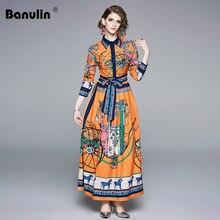 2019 Autumn High Quality Newest Fashion Runway Lace Up Bow Maxi Dress Womens Long Sleeve Retro Art Printed Designer