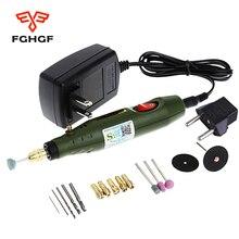 FGHGF 220V เครื่องมือแกะสลักปากกาไฟฟ้ามินิขัดขัด Mill ขนาดเล็กตัดคู่มือเจาะเครื่องมือ