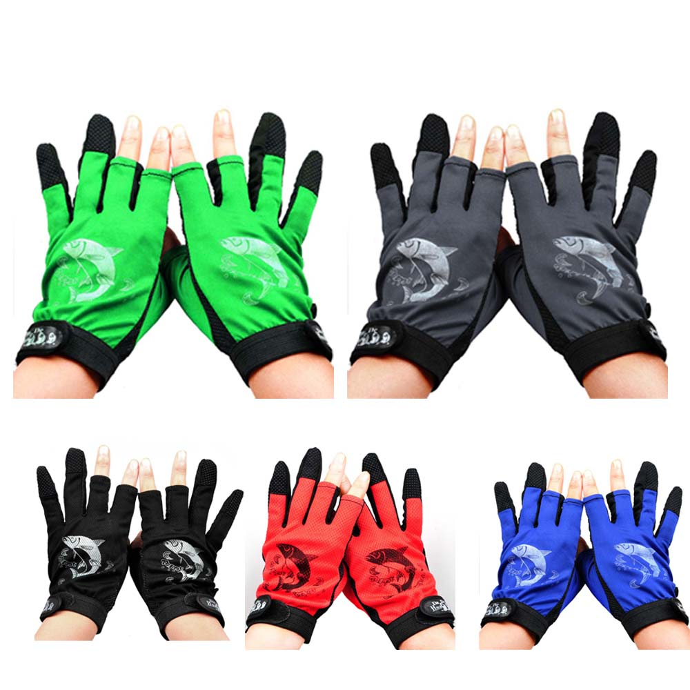 3 Cut Finger Anti-slip Non-Slip Fishing Gloves Outdoor Glove Breathable Wear Resistant 3 Low-Cut Fingers Fishing Gloves 1 pair 3 half finger fishing gloves skidproof resistant half finger cycling fishing anti slip tool for fishing tackle boxes hot