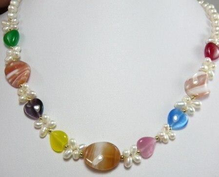 >@@@@@ Belle dame de perle collier décoré avec formes de pierre 003 bijoux & aa ** Un bon-Top qualité livraison gratuite