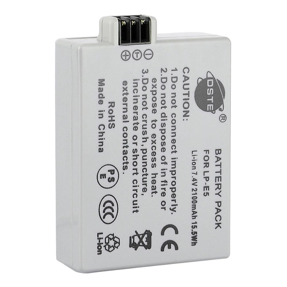 DSTE 2100mAh 7.4V LP-E5 LPE5 Camera Battery for Canon 450D 500D 1000D Kiss Digital X2 X3 F Rebel XSi Xli XS 1500mah lp e5 lpe5 lp e5 li ion battery 2 pack