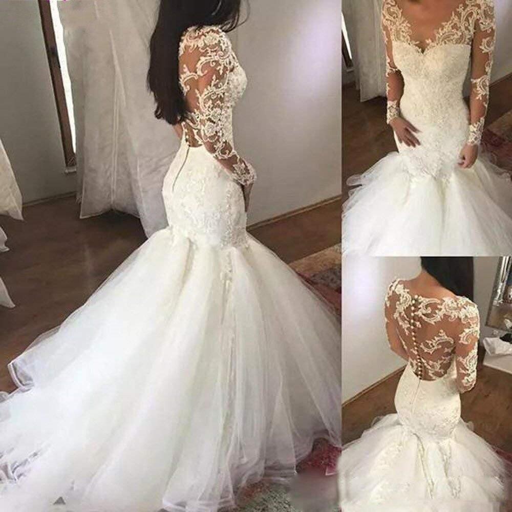 DZW149 Women's Luxury V-neck Mermaid Wedding Dress White Long Sleeves Wedding Gown Beaded Lace Illusion Bridal Dress 2019
