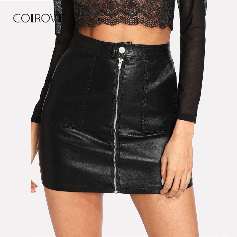 COLROVIE 2018 liso de piel sintética negro Mediados de cintura cremallera Sexy PU falda mujeres falda elegante funda Avove la rodilla Mini falda