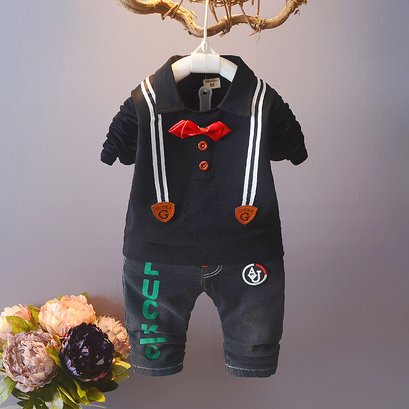 Spring Autumn Baby Boy Clothes Set Children Gentleman Clothing Sets Products Kids Clothes Baby Boys T-shirts+ Jeans Pants