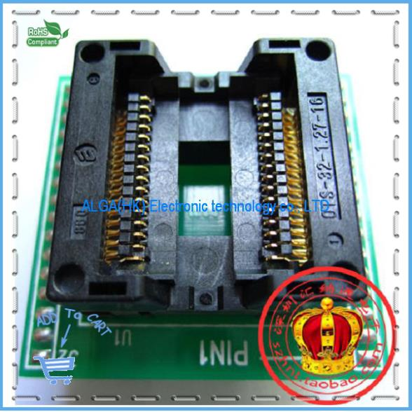 Free shipping .SOP32 wide-body test seat OTS-32-1.27-16 SOIC32 Burn Block programming Block Adapter tm1629b sop32