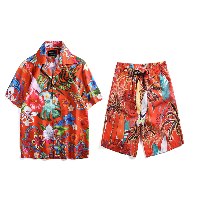 Mr.1991IN Summer Vacation Sets Men's Coconut Surfboard Print Tropical Style Beach Hawaiian Short Shirts Shorts Two Piece Suit