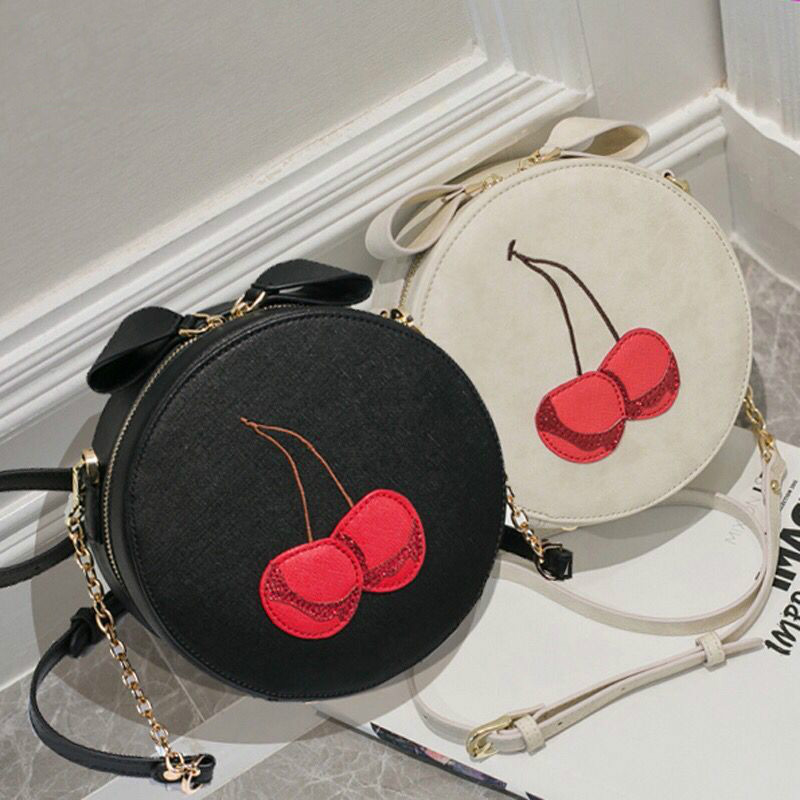 2018 Summer Fashion New Handbags High quality PU leather Women bag Cute girls Chain Round Bag Print cherry shoulder Female bag figure print chain bag