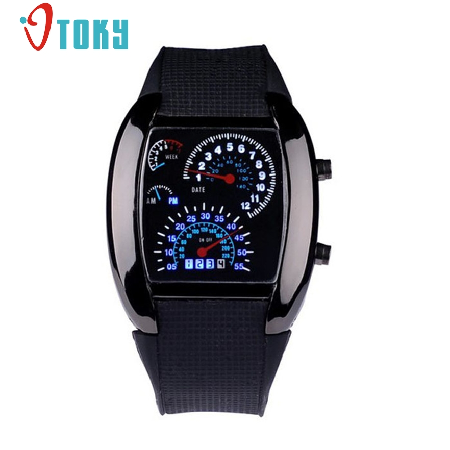 New Arrive Aviation Turbo Dial Flash LED Watch Mens Sports Car Meter Wristwatches #20 Gift 1pcs