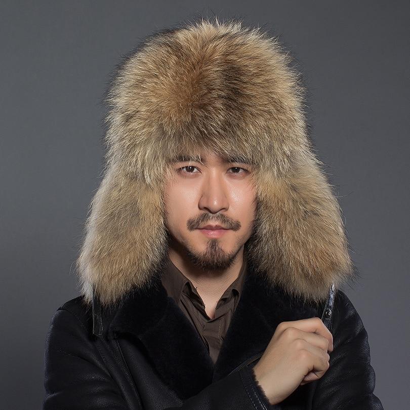 Winter Raccoon Fur Hat For Men Real Fur Genuine Leather