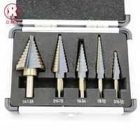 New Arrival High Quality 5pcs/Set HSS COBALT MULTIPLE HOLE 50 Sizes STEP DRILL BIT SET  Aluminum Case