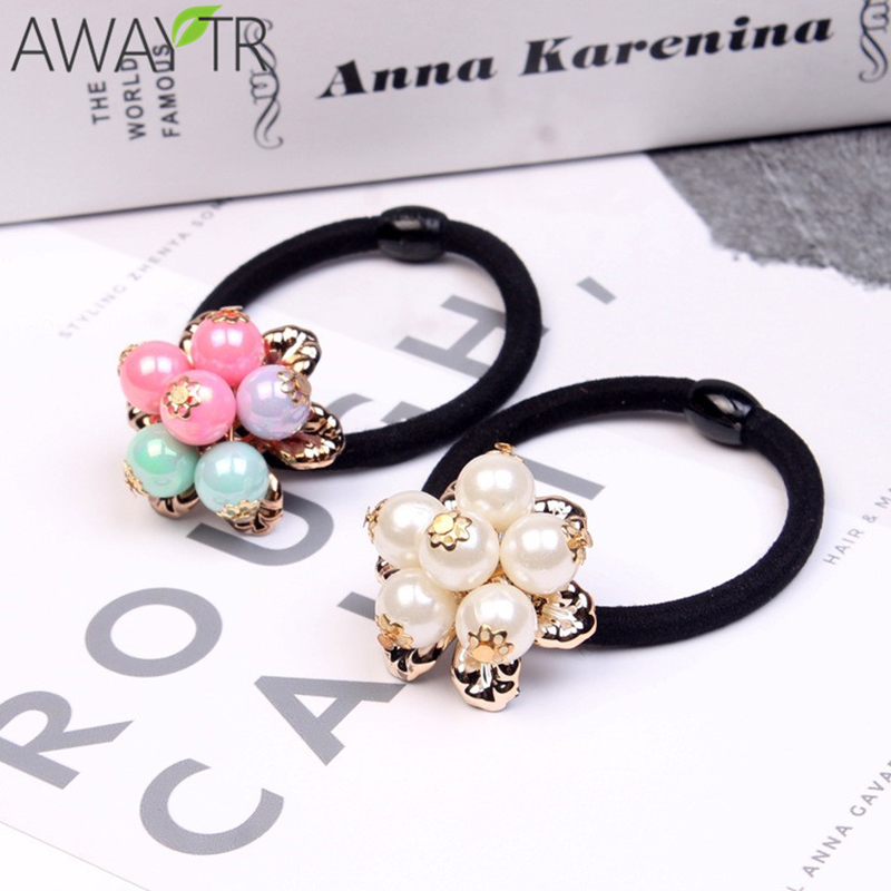 3pc White/Colorful Flower Beads Design Black Elastic Hair Band Ponytail Holder Rubber Bands Gum Hair Rope Lady Hair Accessores