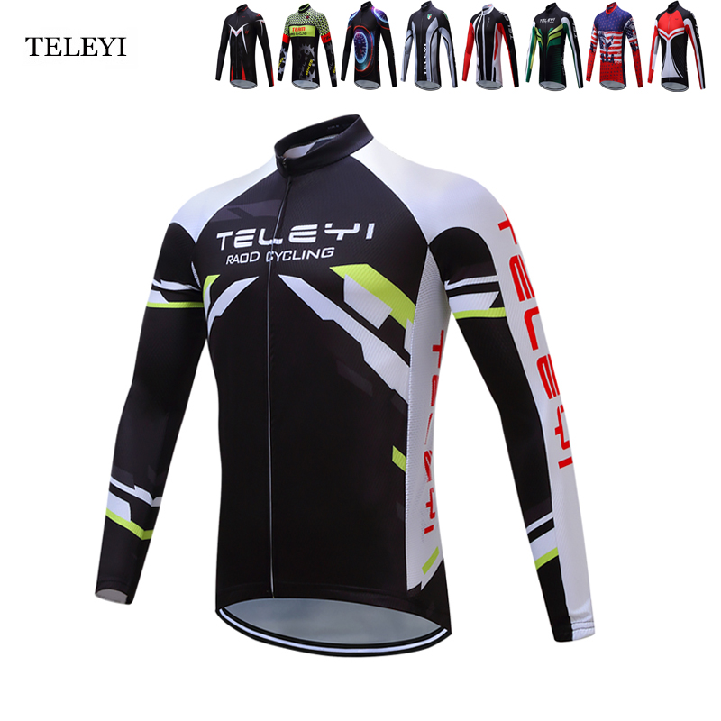 TELEYI Pro Team Quick Dry Ropa Ciclismo Cycling Jersey Long Sleeve Autumn Breathable Mens Shirts Bike MTB Tops Cycling Clothing malciklo team cycling jerseys women breathable quick dry ropa ciclismo short sleeve bike clothes cycling clothing sportswear