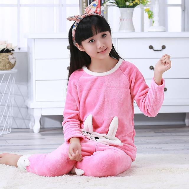 f9c078d1b2 New Winter Children Fleece Pajamas Warm Flannel Sleepwear Girls Loungewear  Coral Fleece Kids Pijamas Homewear Winter Pyjama