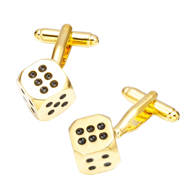 Memolissa Luxury Shirt Gold Dice Cufflink Mens Cuff Buttons Links High Abotoaduras Jewelry