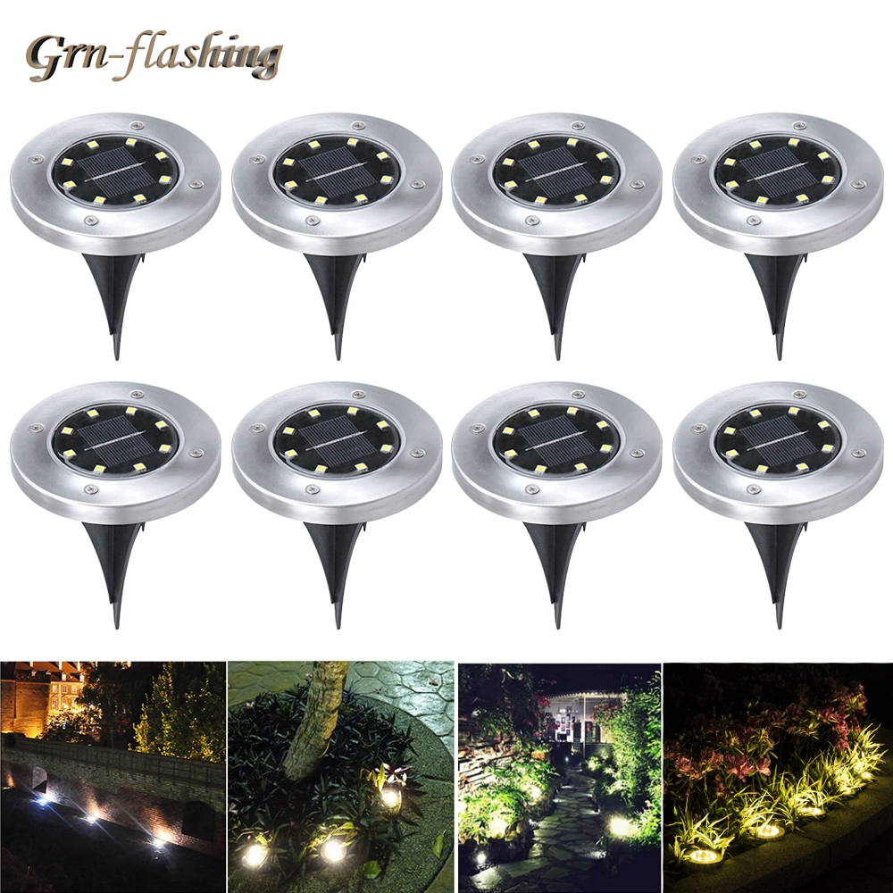 8pcs LED Solar Garden Light 8 LED Lawn Underground lamp Outdoor IP65 Buried Floor Solar Power Path Landscape lighting home decor