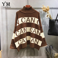 YuooMuoo Brand Style Half Turtleneck Elegant Women Sweaters And Pullovers Loose Letter Design Knitwear Ladies Winter