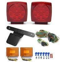 2Pcs Car LED Stop Light +2Pcs Side Light Turn Tail Marker Bracket&Harness Submersible Truck Trailer SQ LED Light Kit