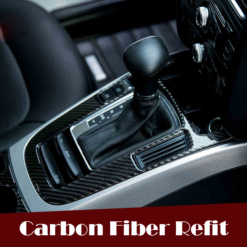 car interior accessories control gear shift panel decorative covers carbon fiber strip 3d. Black Bedroom Furniture Sets. Home Design Ideas