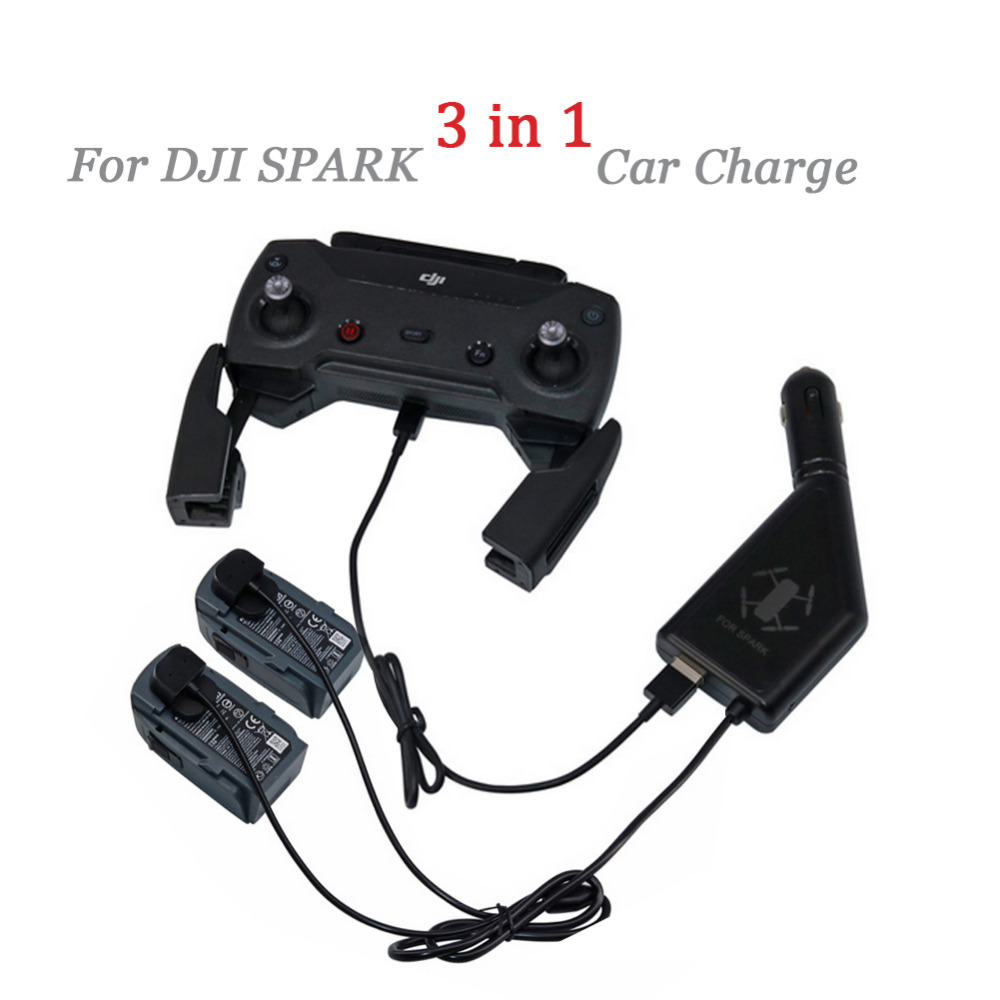 DJI Spark Drone 3 in 1 Car Charger Battery Charging & USB Port Remote Control 2 Cable Battery Charge For DJI Spark Accessories rcyago safety shipping travel hardshell case suitcase for dji goggles vr glasses storage bag box for dji spark drone accessories