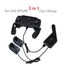 DJI Spark Drone 3 в 1 автомобиль Зарядное устройство Батарея зарядки и USB Порты и разъёмы Дистанционное управление 2 кабеля Батарея зарядки для DJI spark Интимные аксессуары