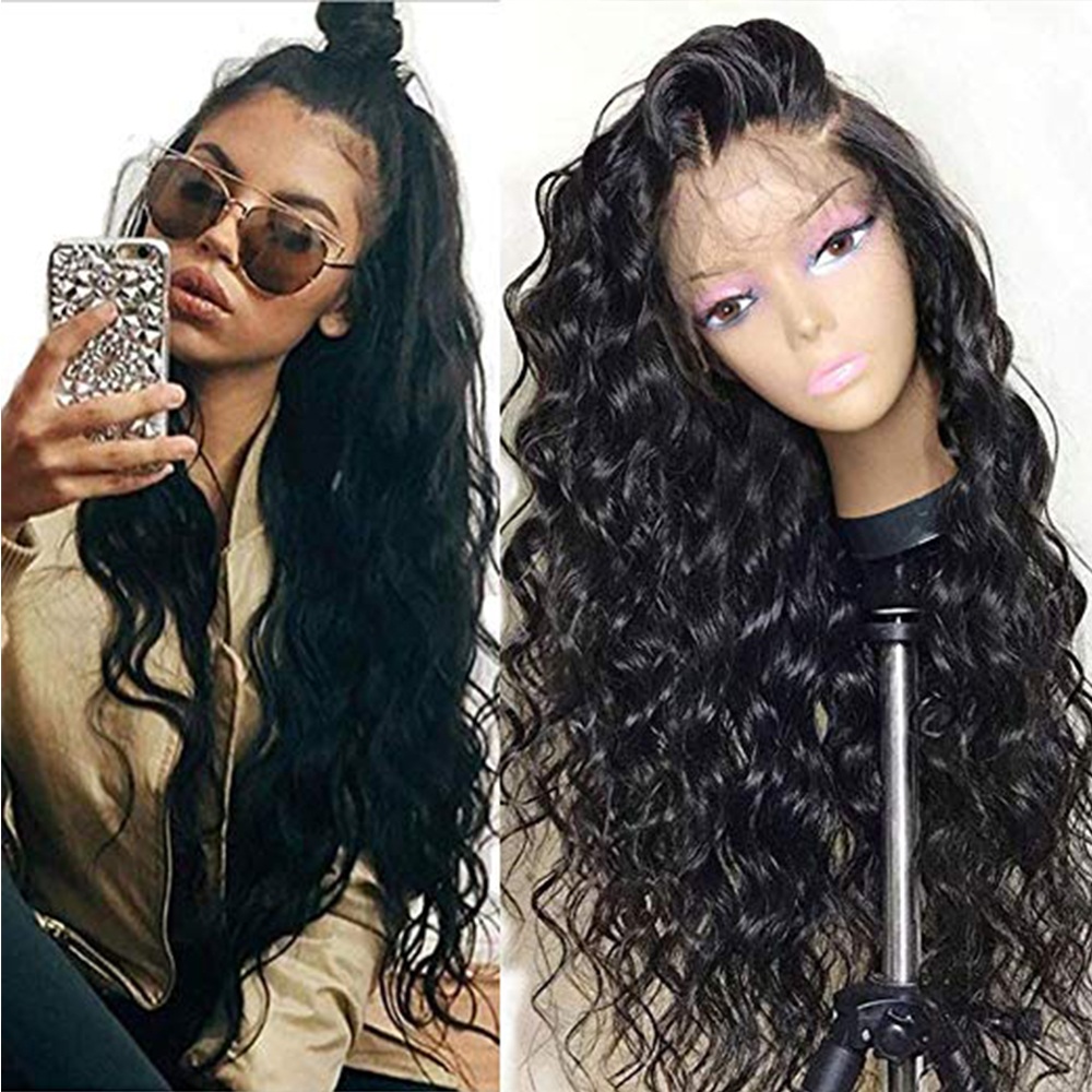 SimBeauty Loose Wave Lace Front Human Hair Wigs With Baby Hair Glueless Peruvian Remy Hair For Black Women 130% Density Natural