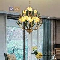 G9 led постмодерн гладить Стекло цветок люстры Lamparas де Techo подвесной светильник Lampen для фойе Спальня