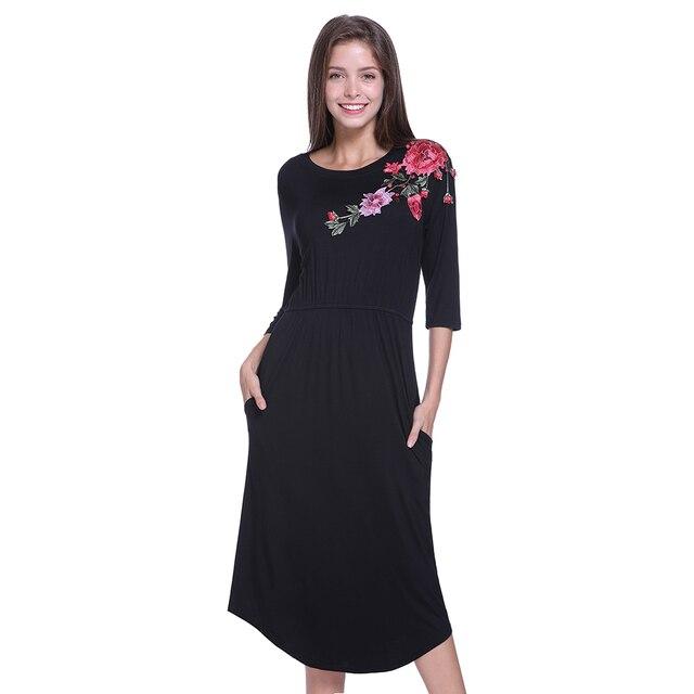 ddeba9fc92 Embroidered Flower Patch Swing Tee Dress Black High Neck Long Sleeve A Line  Plain Dresses Fall